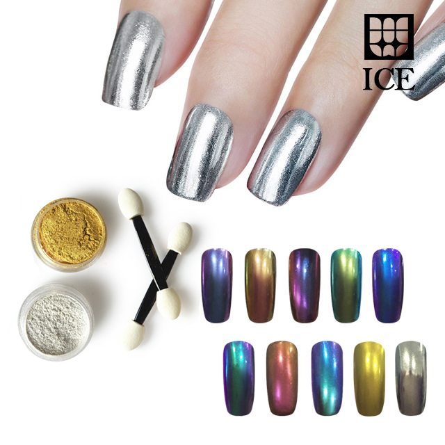 Black Chrome Nail Powder: Chrome Nail Powder Chameleon Pigment With Metallic And